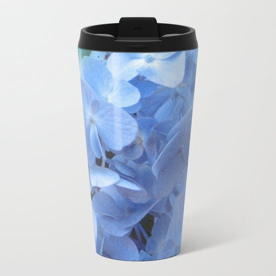 Blue Hydrangea on Green Metal Travel Mug