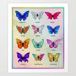 Zodiac Butterflies Art Print