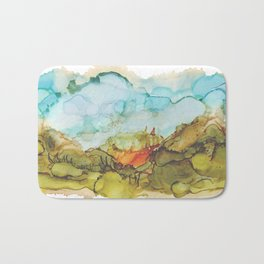 Alcohol Ink Abstract Landscape Farmland Sunset Bath Mat