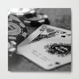 Casino Chips & Cards in Black and White Metal Print