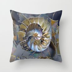 Abstracted Sea Shell Spiral Grey-Beige-Blue  Throw Pillow