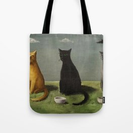 Three Cats with Clouds That Follow Them Everywhere by Gertrude Abercrombie Tote Bag