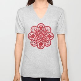 Floral Doily Pattern | Red and White Unisex V-Neck