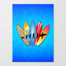 Surfing Evolution Canvas Print