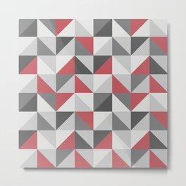Red & gray modern geometric triangles pattern Metal Print