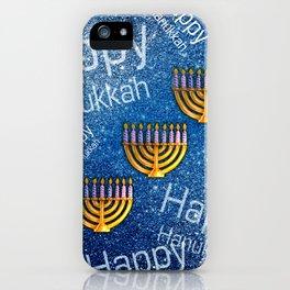 Happy, Happy Hanukkah Menorah Pattern iPhone Case
