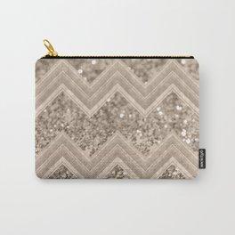 Sepia Glitter Chevron #1 #shiny #decor #art #society6 Carry-All Pouch