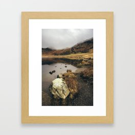 Low cloud and reflections on Blea Tarn. Cumbria, UK. Framed Art Print