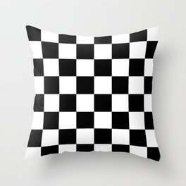 Contemporary Black & White Gingham Pattern Throw Pillow