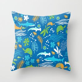 Sharks, Sting Rays and Turtles Throw Pillow