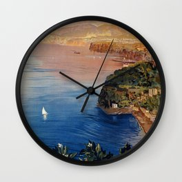 Italy Sorrento Bay of Naples vintage Italian travel Wall Clock