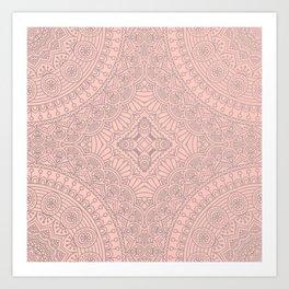 Baby Pink Silver Mandala Pattern Illustration Art Print
