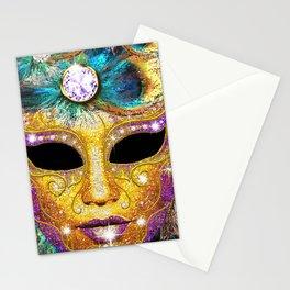 Golden Carnival Mask Stationery Cards