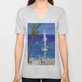 Easter Bunny at the Beach Unisex V-Neck