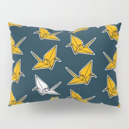 PAPER CRANES NAVY AND YELLOW Pillow Sham