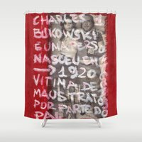 bukowski Shower Curtains featuring Bukowski by Ibbanez