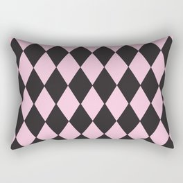 Harlequin pink & black Rectangular Pillow