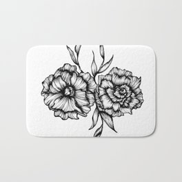 Two Inked Flowers Bath Mat