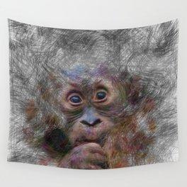 Artistic Animal Orang Baby Wall Tapestry