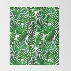 Round Palm Green Throw Blanket