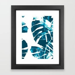 Monstera Leaf Blue Framed Art Print