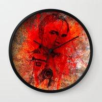 quentin tarantino Wall Clocks featuring Quentin by Rabassa