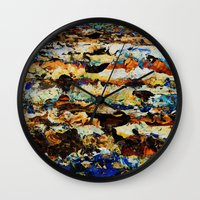 moon phase Wall Clocks featuring Phase Abstract by Stevyn Llewellyn
