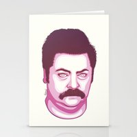 ron swanson Stationery Cards featuring Ron Swanson by Kristjan Lyngmo