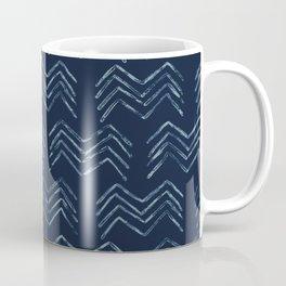 Indigo Tie Dye Batik Chevron Drawn Organic Coffee Mug