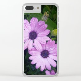 Purple Flowers on a Rainy Day Clear iPhone Case