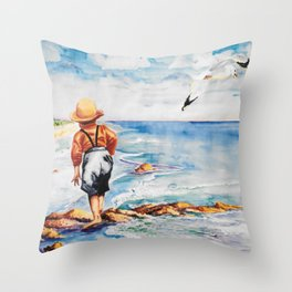 Watercolor Boy with Seagulls Throw Pillow