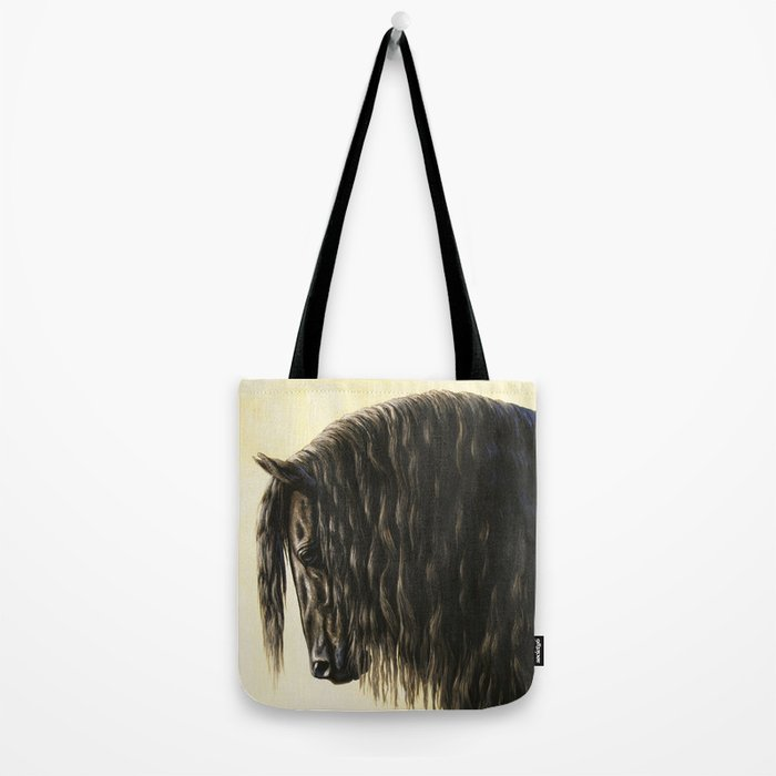Black Friesian Draft Horse Tote Bag