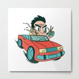 Cartoon Ramen Noodles Car - Funny Gift Metal Print