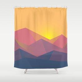 Mountain Sunset Illustration Shower Curtain