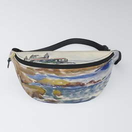 Marblehead, Massachusetts Corinthian Yacht Club coastal New England nautical landscape painting by Hayley Lever Fanny Pack