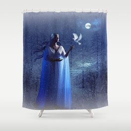 GLOWING BRIGHTLY IN THE NIGHT SKIES 02 Shower Curtain