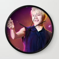 kpop Wall Clocks featuring Woohyun by Nikittysan