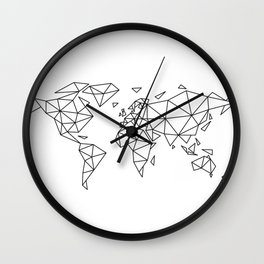 Geometric world map Wall Clock