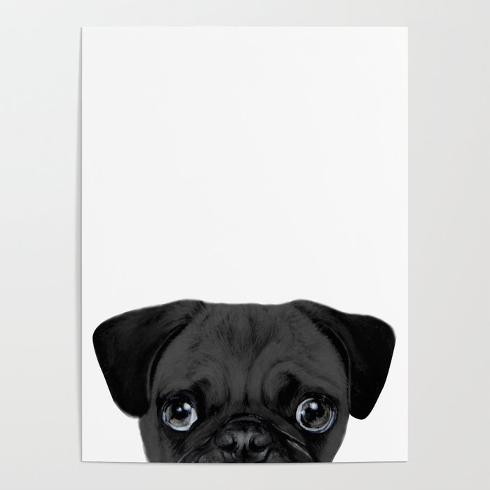 Black Pug, Original painting by miart Poster