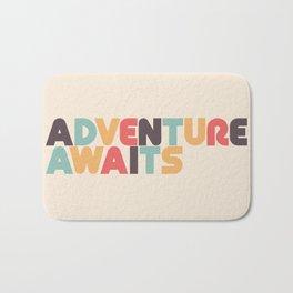 Adventure Awaits Retro Rainbow Typography Bath Mat