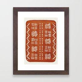 Mud Cloth Pattern - Rust Framed Art Print