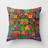 merry christmas Throw Pillows featuring Merry Christmas! by Klara Acel