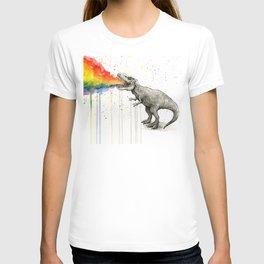 T-Rex Dinosaur Vomits Rainbow T-shirt