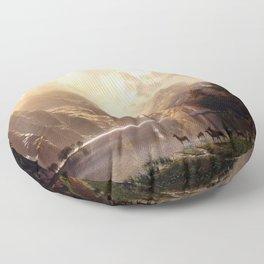 Albert Bierstadt - Among the Sierra Nevada, California Floor Pillow