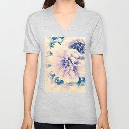 Delicate Beauty (Vintage Blue Lavender Dahlias) Unisex V-Neck