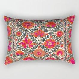 Kermina Suzani Uzbekistan Colorful Embroidery Print Rectangular Pillow