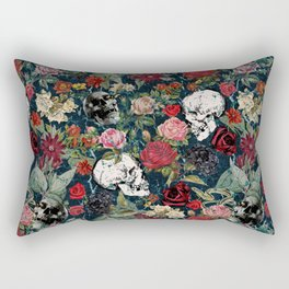 Distressed Floral with Skulls Pattern Rectangular Pillow