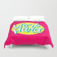 work hard Duvet Covers featuring Work Hard by Chelsea Herrick