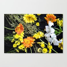 Fresh blooms on black Canvas Print