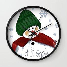 Let's build a snowman, let it snow Wall Clock